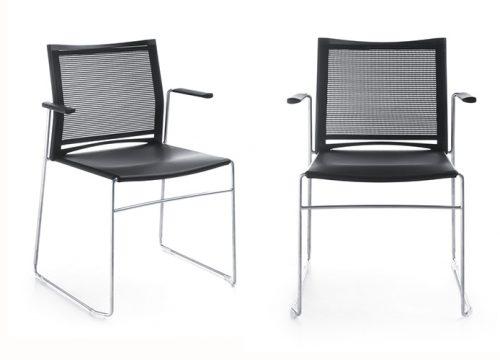 14Kise0614 500x360 - כסא/ כורסת/ ספת המתנה או אורח או קפיטריה ariz 555v גב רשת עם ידיות | מס: 0614