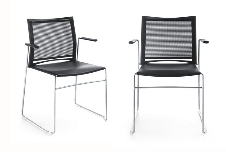 כסא/ כורסת/ ספת המתנה או אורח או קפיטריה ariz 555v גב רשת עם ידיות   מס: 0614