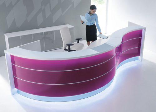 2Dalpak2102 500x360 - דלפק קבלה למשרד -דלפק פורמייקה מעוגל צבעוני | מס': 2102