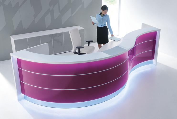 דלפק קבלה למשרד -דלפק פורמייקה מעוגל צבעוני | מס': 2102