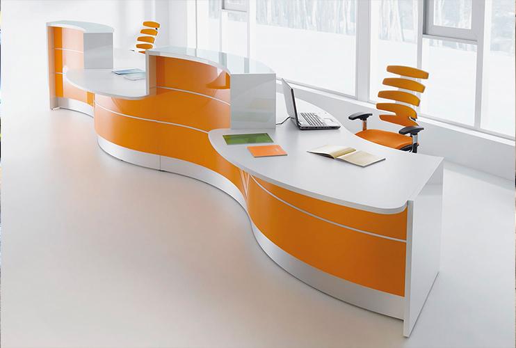 דלפק קבלה למשרד- דלפק פורמייקה ארגונומי צבעוני | מס': 2104