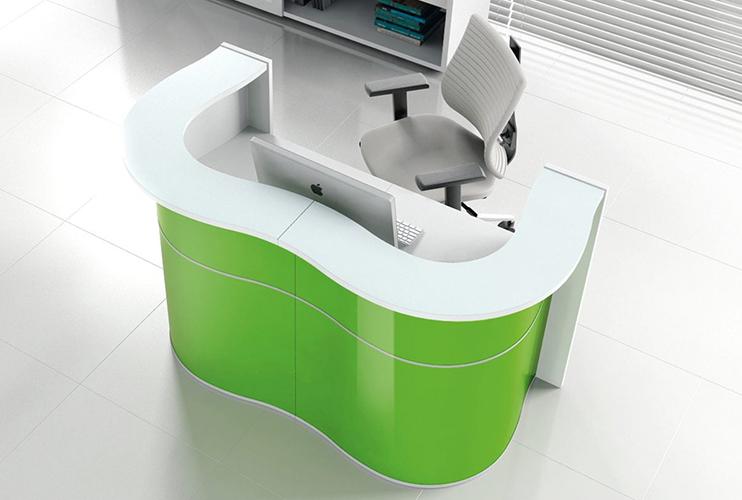 דלפק קבלה למשרד- דלפק פורמייקה בצורת גל צבעוני | מס': 2107