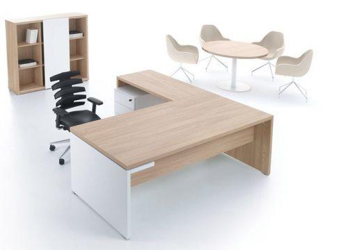 Hal5 500x360 - שולחן משרדי- MITO בהיר אפוקסי עם שולחן ישיבות ואיחסון תואם לבן