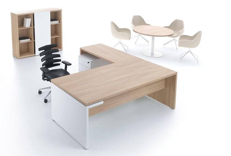 שולחן משרדי- MITO בהיר אפוקסי  עם שולחן ישיבות  ואיחסון תואם לבן