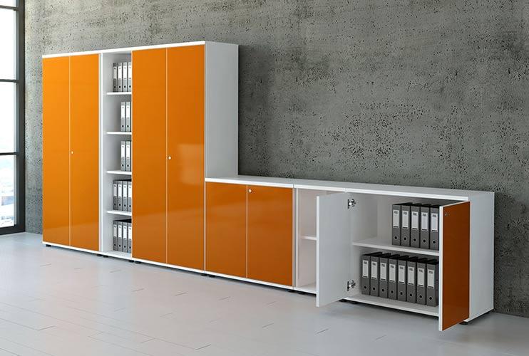 ארון איחסון למשרד- ארון גבוה צמוד עם ארון נמוך בפורמייקה   מס': 1010