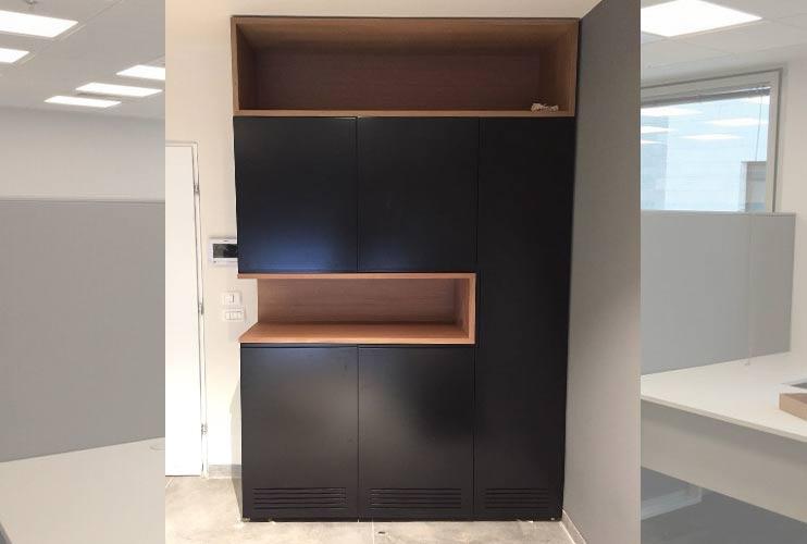 ארון איחסון למשרד- ארון משולב פורמייקה שחורה | מס': 1012