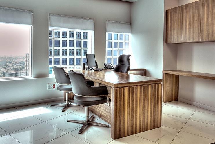שולחן משרדי- דגם רוכב בפורניר כולל איחסון תואם | מס': 3014