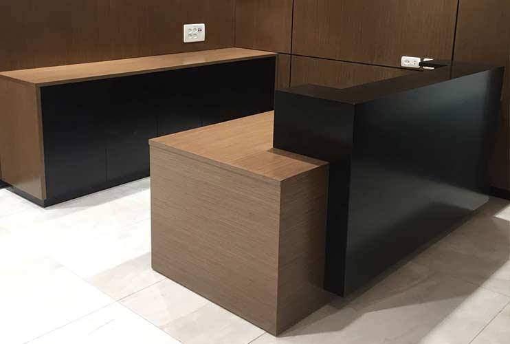 ארון משרדי- עמדת קבלה עם ציפוי קיר, ארון ודלפק קבלה | מס': 1120