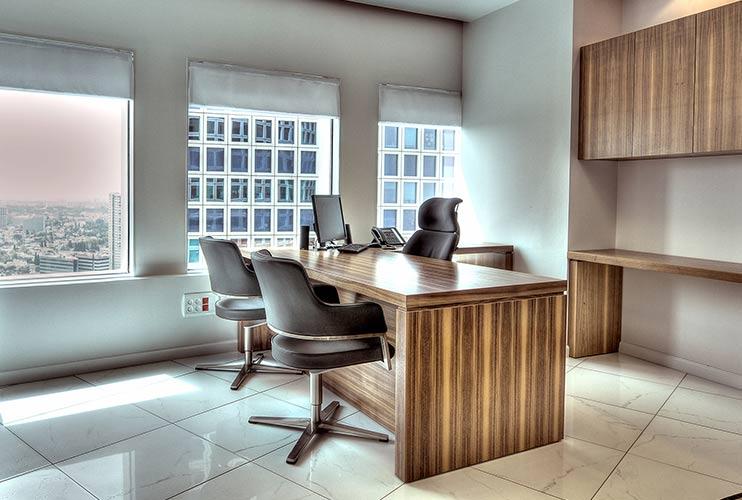 שולחן מנהל וארון איחסון למשרד- דגם רוכב בפורניר כולל איחסון תואם | מס': 1301