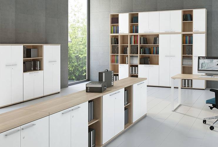 ארון איחסון למשרד- ארונות פתוחים סגורים ומדפים תפורים לפי מידה | מס': 1001