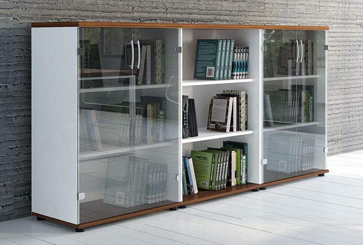 ארון משרדי- סיפרייה עם דלתות זכוכית   מס': 1101