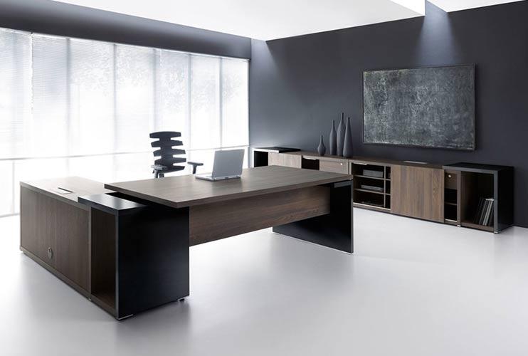 שולחן משרדי -MITO כהה משולב אפוקסי שחור   מס': 3001