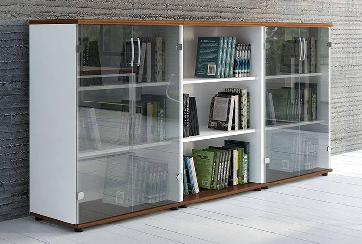 ארון איחסון למשרד- ארון בשילוב זכוכית | מס': 1201