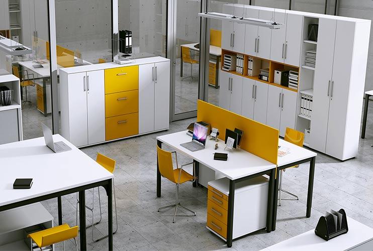 ארון איחסון למשרד- מערך איחסון משולב פורמייקה צבעונית   מס': 1002