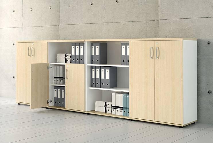 ארון איחסון למשרד- ארון לפי מידה משולב פתוח וסגור | מס': 1004