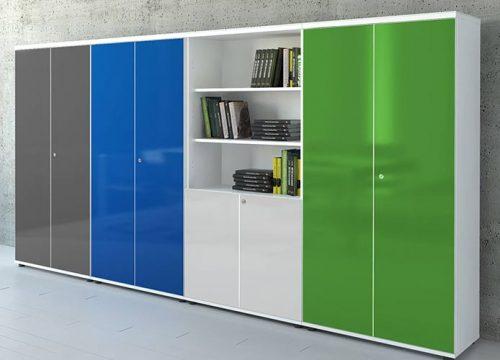 6Formaika1006 500x360 - ארון איחסון למשרד- ארון לקלסרים וספריה בפורמייקה צבעונית מבריקה תפור לפי מידה | מס': 1006
