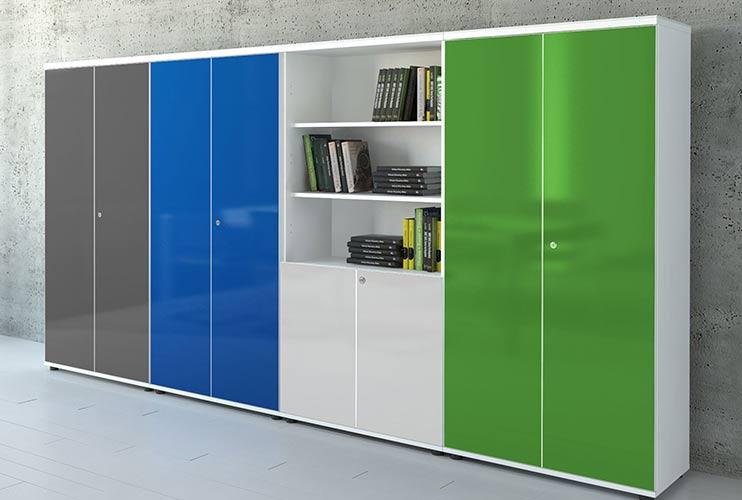 ארון איחסון למשרד- ארון לקלסרים וספריה בפורמייקה צבעונית מבריקה תפור לפי מידה   מס': 1006