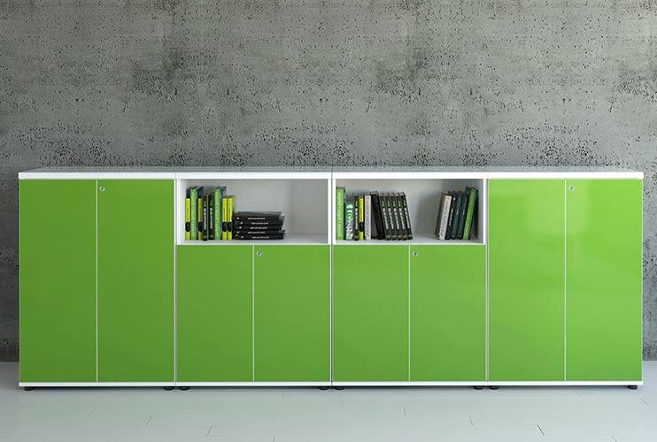 ארון איחסון למשרד- ארון איחסון בפורמייקה- ארון משולב מדפים בפורמייקה צבעוני | מס': 1016