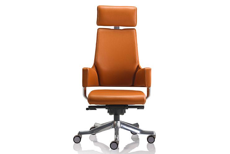 כסא מנהלים / כסא לחדר ישיבות דגם DELPHI גב גבוה + משענת ראש בעור/ מס' 341