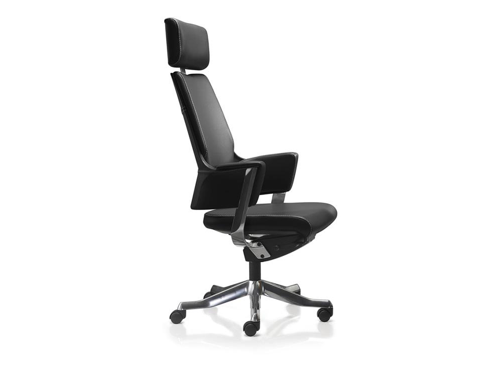 כסא מנהלים / כסא לחדר ישיבת דגם DELPHI גב גבוה + משענת ראש בעור/ מס' 340