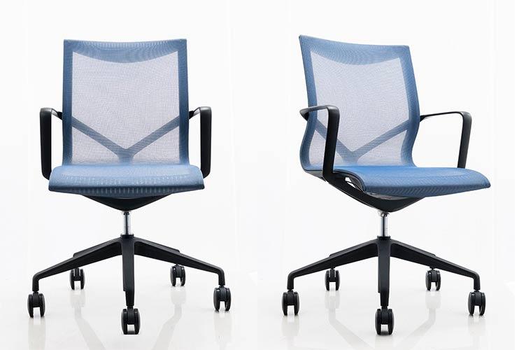 כסא לחדר ישיבות דגם ברצלונה ברשת כחול- מס' 460