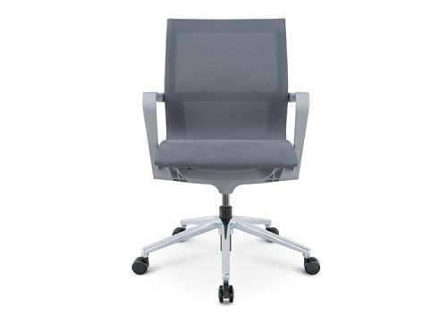 PR רשת אפור גב בינוני חדרי ישיבות 2 500x360 - כסא לחדר ישיבות דגם PR רשת אפור גב בינוני מס. 474